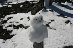 遊歩道の雪だるま